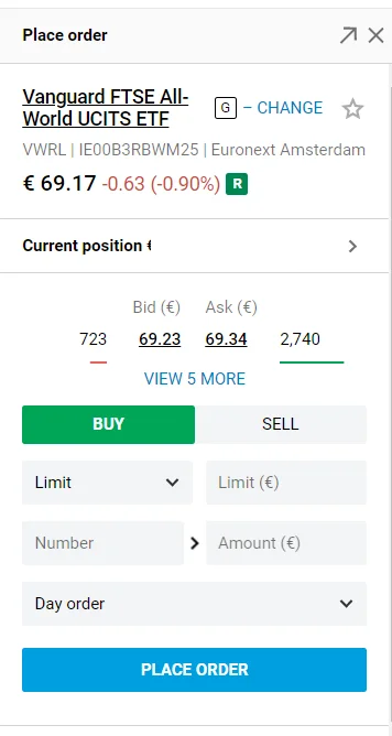 screen capture of how to buy an ETF