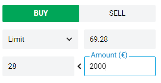 screen capture of setting max purchase amount when buying shares